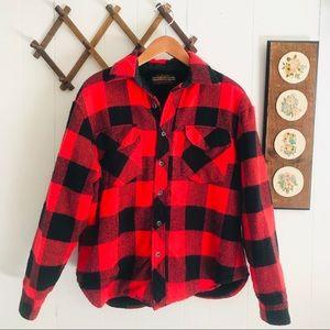 Vintage Buffalo Plaid Sherpa Lined Shirt Jacket